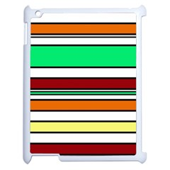 Green, orange and yellow lines Apple iPad 2 Case (White)