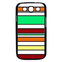 Green, orange and yellow lines Samsung Galaxy S III Case (Black)