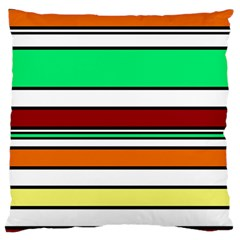 Green, Orange And Yellow Lines Large Cushion Case (two Sides)