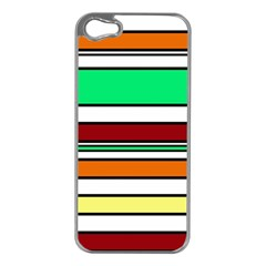 Green, orange and yellow lines Apple iPhone 5 Case (Silver)