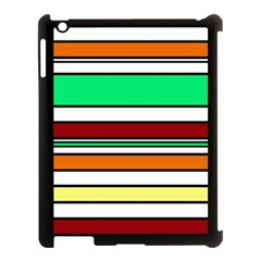 Green, orange and yellow lines Apple iPad 3/4 Case (Black)