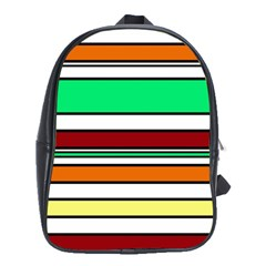 Green, orange and yellow lines School Bags (XL)