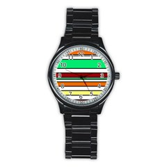 Green, orange and yellow lines Stainless Steel Round Watch