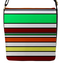 Green, orange and yellow lines Flap Messenger Bag (S)