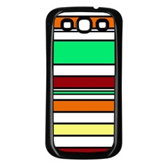 Green, orange and yellow lines Samsung Galaxy S3 Back Case (Black)