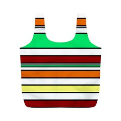 Green, orange and yellow lines Full Print Recycle Bags (M)