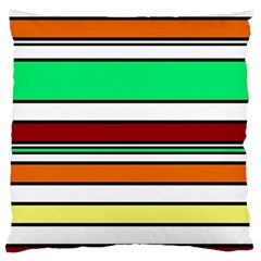 Green, orange and yellow lines Standard Flano Cushion Case (Two Sides)