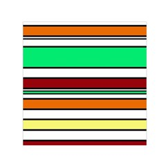 Green, orange and yellow lines Small Satin Scarf (Square)