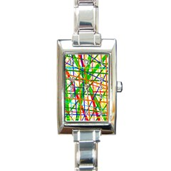 Colorful lines Rectangle Italian Charm Watch