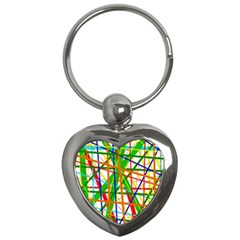 Colorful lines Key Chains (Heart)