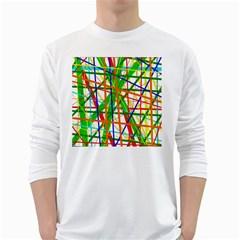 Colorful lines White Long Sleeve T-Shirts