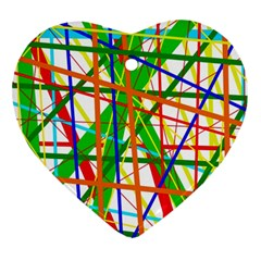Colorful lines Heart Ornament (2 Sides)