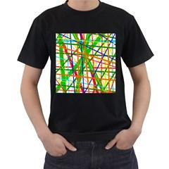 Colorful lines Men s T-Shirt (Black)