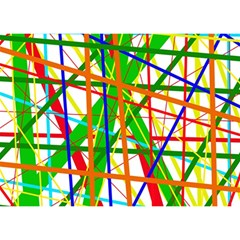 Colorful lines Birthday Cake 3D Greeting Card (7x5)