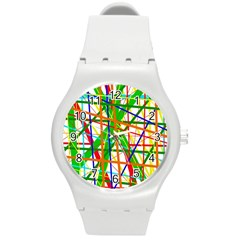 Colorful lines Round Plastic Sport Watch (M)
