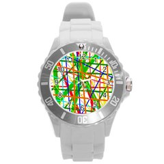 Colorful lines Round Plastic Sport Watch (L)