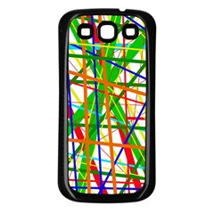 Colorful lines Samsung Galaxy S3 Back Case (Black)