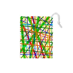 Colorful lines Drawstring Pouches (Small)