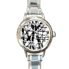 Black and white abstract design Round Italian Charm Watch