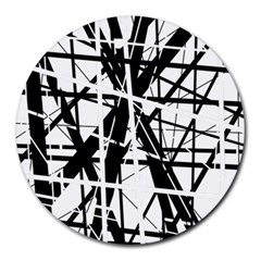 Black and white abstract design Round Mousepads
