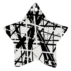Black and white abstract design Ornament (Star)