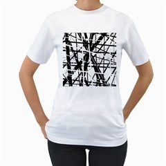 Black and white abstract design Women s T-Shirt (White) (Two Sided)