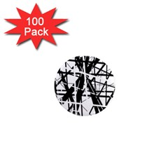 Black and white abstract design 1  Mini Magnets (100 pack)