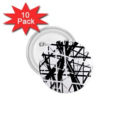 Black and white abstract design 1.75  Buttons (10 pack)