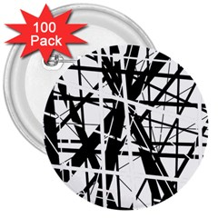 Black and white abstract design 3  Buttons (100 pack)