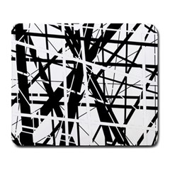 Black and white abstract design Large Mousepads