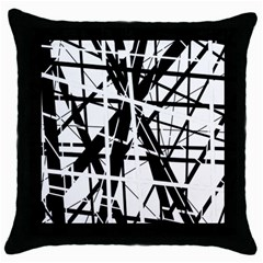 Black and white abstract design Throw Pillow Case (Black)