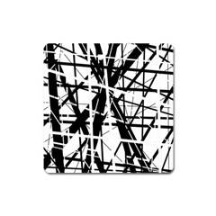 Black and white abstract design Square Magnet