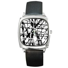 Black and white abstract design Square Metal Watch