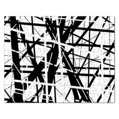 Black and white abstract design Rectangular Jigsaw Puzzl