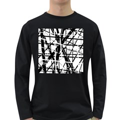 Black and white abstract design Long Sleeve Dark T-Shirts
