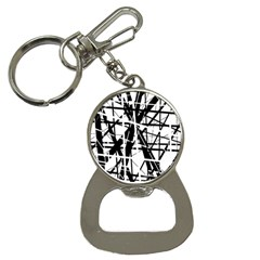 Black and white abstract design Bottle Opener Key Chains
