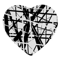 Black and white abstract design Heart Ornament (2 Sides)