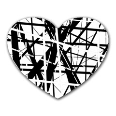 Black and white abstract design Heart Mousepads