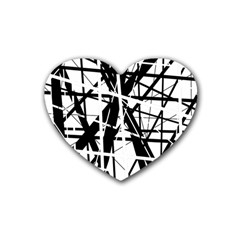 Black and white abstract design Rubber Coaster (Heart)