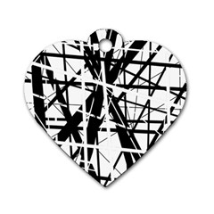 Black and white abstract design Dog Tag Heart (One Side)