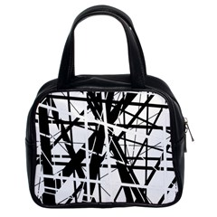 Black and white abstract design Classic Handbags (2 Sides)