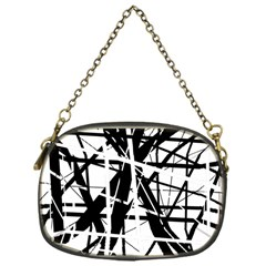 Black and white abstract design Chain Purses (One Side)