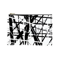 Black and white abstract design Cosmetic Bag (Large)
