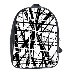 Black and white abstract design School Bags(Large)