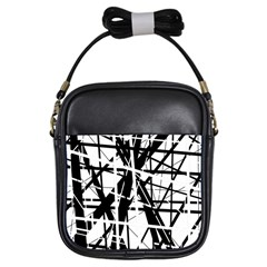 Black and white abstract design Girls Sling Bags