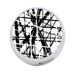 Black and white abstract design 4-Port USB Hub (Two Sides)