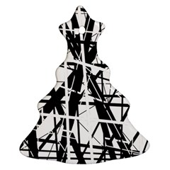 Black and white abstract design Christmas Tree Ornament (2 Sides)