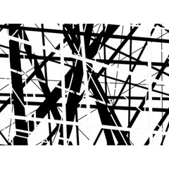 Black and white abstract design Birthday Cake 3D Greeting Card (7x5)