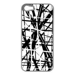 Black and white abstract design Apple iPhone 5 Case (Silver)