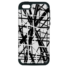 Black and white abstract design Apple iPhone 5 Hardshell Case (PC+Silicone)
